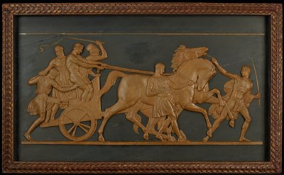 three men in a chariot at left, with one man stepping in at back; two groomsmen lead two horses pulling chariot; men dressed in various Classical draperies; framed and glazed with glass