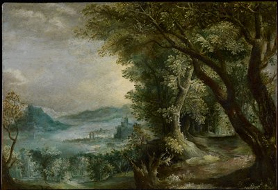 landscape with mountains and city on the water at Left, trees at Right; Madonna and Child, donkey and three other figures in Lower Right Corner