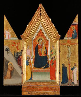 Religion: NT. Triptych, center panel gabled; wings together form gable. Madonna and Child with Paul, Peter, Catherine and Helena. Francis. Miracles. Stigmatization of Francis in retreat on Mount Alverna. Annunciation. Mary, usually reading, is visited by the Angel. Crucified Christ with Mary and John the Evangelist. Central panel Madonna and Child enthroned; the child stands in his mother's lap facing her, his arms extended; the Virgin looks at him with a half smile; she wears a red lined blue mantel over a dark red gown; back of throne decorated with slender arabesques on scarlet ground; to left of throne stands St. Helen and St. Peter, to the right St. Catherine and St. Paul; the colors of their robes are ivory, rose, mauve, gold, dull green; gold leaf background; left wing St. Francis Receiving the Stigmata; dull mauve robe; angel's drapery scarlet; gold background; right wing Crucifixion; Mary in black standing at foot of cross; gold leaf background; Pinnacles The Annunciation, Virgin's robe black against scarlet background with decorative motifs of throne, angel, diaphanous rose drapery against gold leaf background; panels bordered with incised motif, haloes bear incised decoration; gold background brilliant, colors fresh. Unsigned.