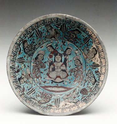Bowl, polychromed. King seated on a throne with two personages; to left and right of throne two angels; two birds below. Eight figures seated around throne.