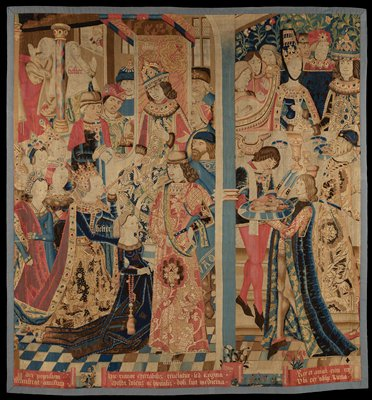 Queen Esther and King Ahasuerus, wool and silk, Flemish XVc fragment from the center of a much larger piece, probably from a set of four to six tapestries narrating the story of Esther Ahasuerus; warp undyed wool, 5-7 ends per cm., weft dyed wool and some dyed silk, 20-32 ends per cm.