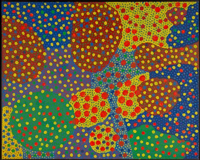 abstract image in red-orange, blues, yellow, dark red, green; dots of various sizes overall with looped openwork designs with other colors showing through