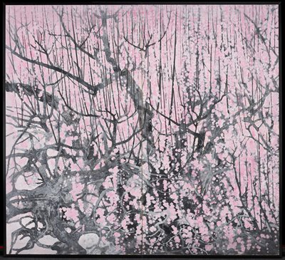 Pair of 2-panel screens; slightly abstracted image of gnarled grey tree branches covered in pink dots (blossoms); some light grey/white ovoid negative spaces in LLC