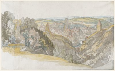 three sheets of irregular size joined together vertically--large sheet at right, small strip attached at left side of largest sheet and another slightly larger strip attached to left side of small strip; view from hillside down to a village in a valley, with a church at left with steeple and cathedral at center beyond water; primarily greys, greens, pale blue, orange and yellow