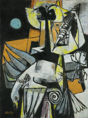 abstract painting that resembles image of human figure composed of geometric shapes in black, orange, yellow and white; figure is holding weapon in PL hand with arm raised; dead white bird in center; PR hand of figure is around neck of bird; bird rests atop stylized column; blue circle in upper left quadrant