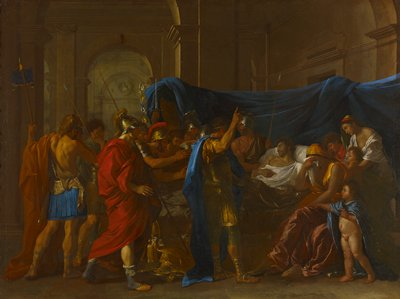Historical. Death of Germanicus Caesar; he is lying on his death-bed with his wife Agrippina grieving at his bedside.