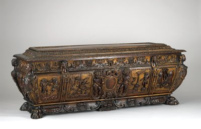 chest, carved in high relief and parcel gilded on a specially-made stand