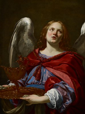 one of a pair of paintings of angels with symbols of the passion; other is 69.36.2