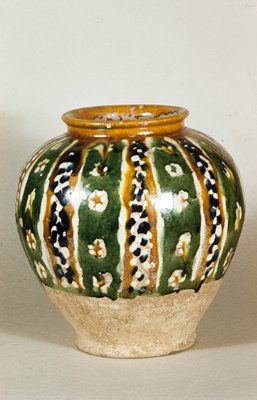 Jar, green, brown, and blue glaze.  White earthenware with 3-color lead glaze.
