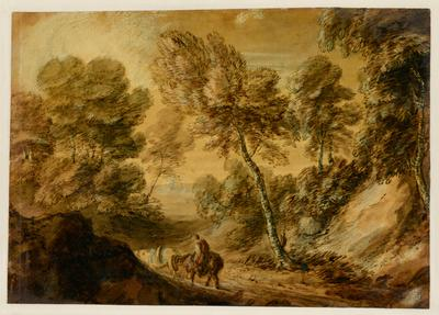landscape with horse with rider at bottom center