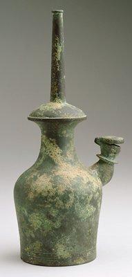 Kundika (holy water bottle) undecorated surface; bronze