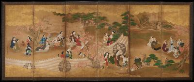 Six-panel half-height screen (chu-byobu) depicting a group of elegantly dressed women enjoying a maple leaf viewing party. Gold clouds in gold leaf cover the upper 1/5 of the top of the composition, while the lower portion is dominated by a white curtain that creates the space of the party. In the right two panels, a group of male figures, one on horseback, has arrived and seems to be communicating with some of the female figures who emerge from behind the curtain.
