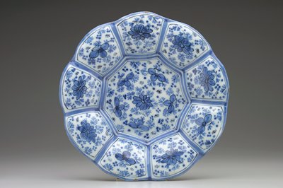 Number on object is difficult to read; soft paste porcelain with floral decor in underglaze blue