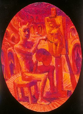 Seated, nude man with horns painting portrait of nude woman; red tones throughout