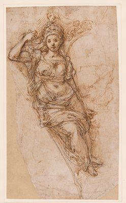 mounted to ivory paper with brown border; female figure standing, leaning against curved element at left; leafy architectural element to right of woman's head; PR elbow resting up, PL arm down; woman wears draping garments; light brown sketch of a female bust at right