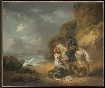 Woman with a basket containing a large fish and a stingray presenting them to a man on a white horse with a dog; rocky coastal scene with boats at left.