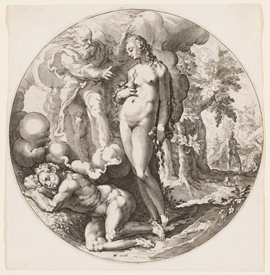 nude woman standing center; nude male sleeping LL corner; bearded man UL; two figures in the background with many animals on the R