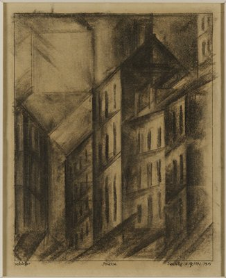 row of buildings drawn in in linear perspective with an emphasis on the diagonal; square appears to float in UL corner