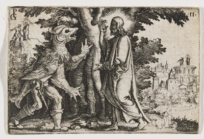 Christ standing to R of gnarled tree, facing a grotesque figure with beastly head, wings, webbed fingers, fish tail, and human legs; at ULC, small image of Christ on a plateau; at UR, small image of Christ standing atop a building, in both miniatures facing a similar looking beast
