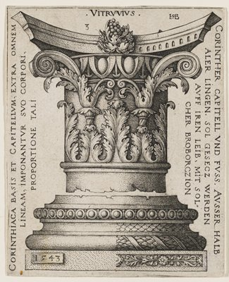 Corinthian column with heavy leaf ornamentation and scrolling motif at top; cluster of grapes in column's upper center; inscriptions on sides