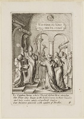 Jesus bound at R within a small mob of men raising weapons; a man in priestly clothing at L faces the group, elevating a bushy object in his PR hand; smaller man at LL holding a large basket