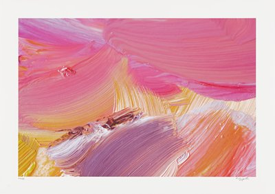 abstract image; bright, multicolored pigments of pink, purple, orange and white in large, swooping brush strokes; pink textured blob in upper left quadrant; gathered textured pigments of white, orange and purple in lower center