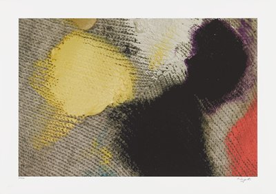 abstract image; gray knitted fabric with yellow, white, black and red patches of pigment overlap