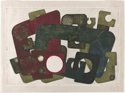 overlapping pipe-like shapes, bars, and blocks with cutouts in blues, green, charcoal, and burgundy against neutral background