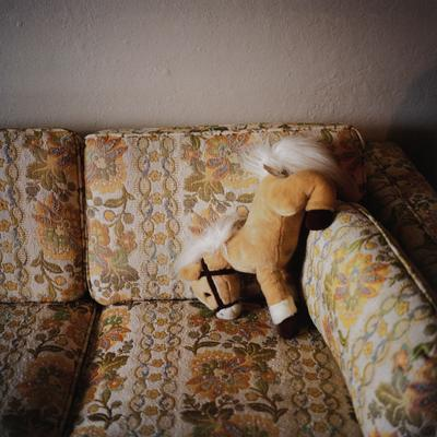 image of a stuffed tan toy horse with white mane and tail and a black harness on a tan couch with orange flowers