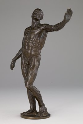 Rich light brown patina with lacquer. The figure stands with left arm raised and the weight resting on the right foot. The left foot is placed on a skull, a very rare feature. On stepped, circular, mottled green base. On the base of the bronze, the number 27 (Mayer Collection).