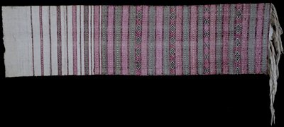 Kera, man's or woman's belt piece; cotton/silk brocade on cotton back ground, also wool; L. 66 in.,W. 1-3/4 in. maroon with multicolored supplementary weft pattern.
