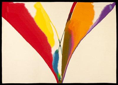 Background ecru; brushed large V--color red, yellow, blue, green, brown, purple, rose, orange, violet