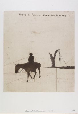 cowboy on a horse at L; hanged figure with tree at R