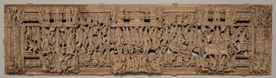 carved wood; marriage of Shiva panel; marriage ceremony of Shiva and Parvati in center; various figural images representing manifestations of Shiva.