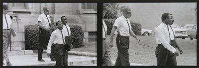 2 images printed next to each other on one sheet; left image:  Dr. King and Rev. Abernathy in shirts and ties walking ahead of two white men wearing hats; right image:  figures in profile from PR