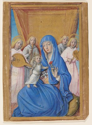 Virgin and child with child standing on her lap; she wears blue cloak with hood and hold red carnation; four haloed musicians in background