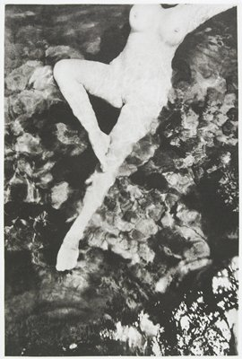 nude woman in water; PR foot on PL knee; head outside of image; L97.290.2.1-4 in red portfolio