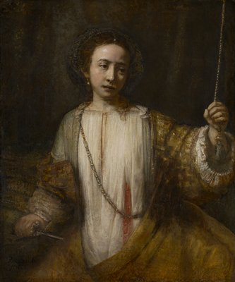 Allegory. Lucretia, portrait of a young woman, seconds after taking her own life, holding knife in right hand, blood-stained chemise, left hand grasps bell cord.