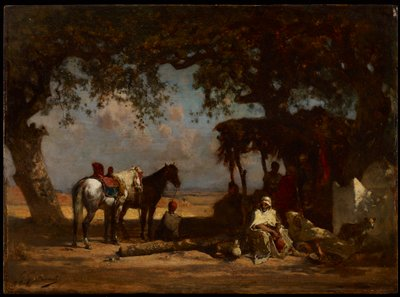 small thatch-roofed structure with tree branch supports at right next to a tree; two horses at left next to another tree; turbaned male figures inside structure and one man seated by horses