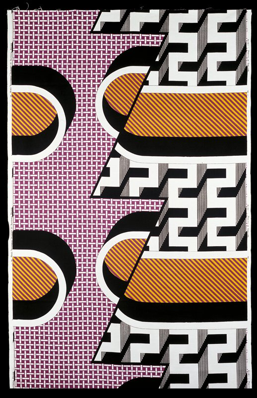 3-1/4 repeats; bkg. white; pattern of weaving white and purple; architectural forms black and white; stripes purple and yellow