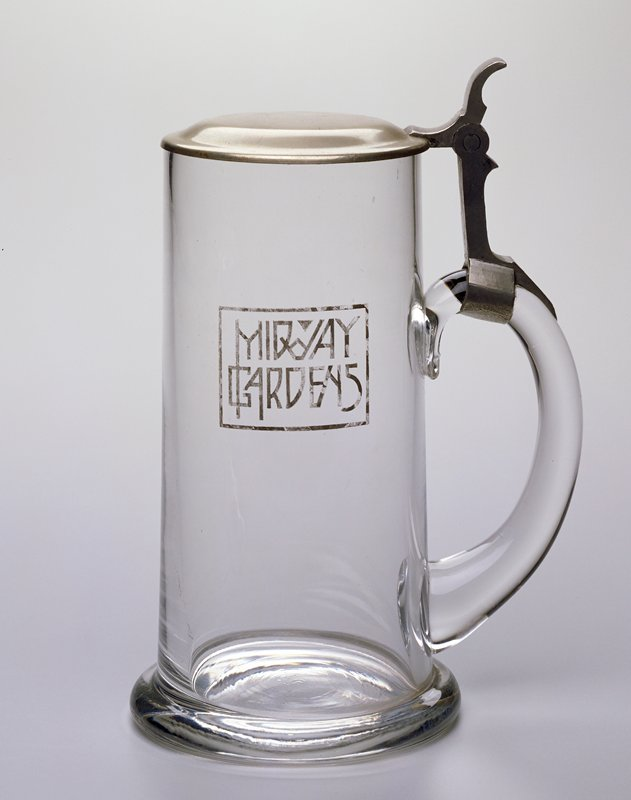 glass with attached pewter lid; 'Midway Gardens' on PL side; matches plate (98.276.5.3)
