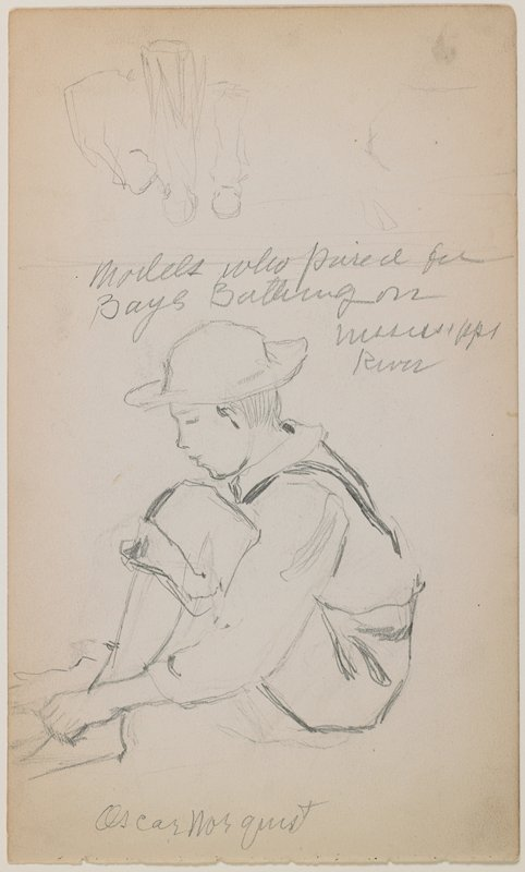 recto: seated boy in profile from PL, wearing a cap, shirt, suspenders and rolled-up pants; sketchy study of three figures, upside down, at top; verso: sketch of a horse