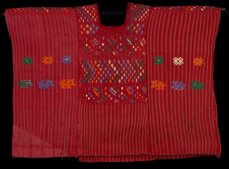three panels sewn together forming a sleeveless blouse with square neckline; red with grey stripes; decorated with multicolored geometericized flowers and quadrupeds; shoulders, and chest and upper back panels, decorated with predominately red diamond and diagonal line designs