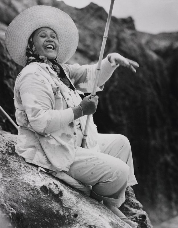 woman seated on a rock holding a bamboo pole; left hand moving