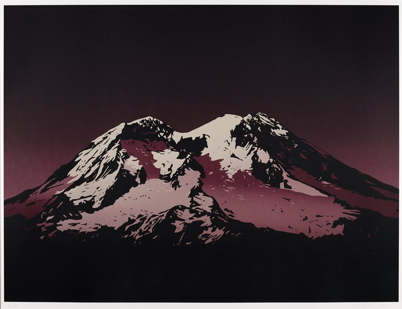 View of Mount Rainier, Washington rendered in shades of purple, lilac and black