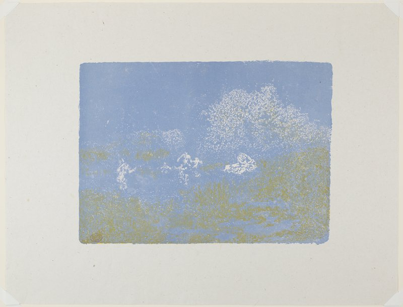 yellow, blue and white; abstracted image of figures at center and foliage in ULC