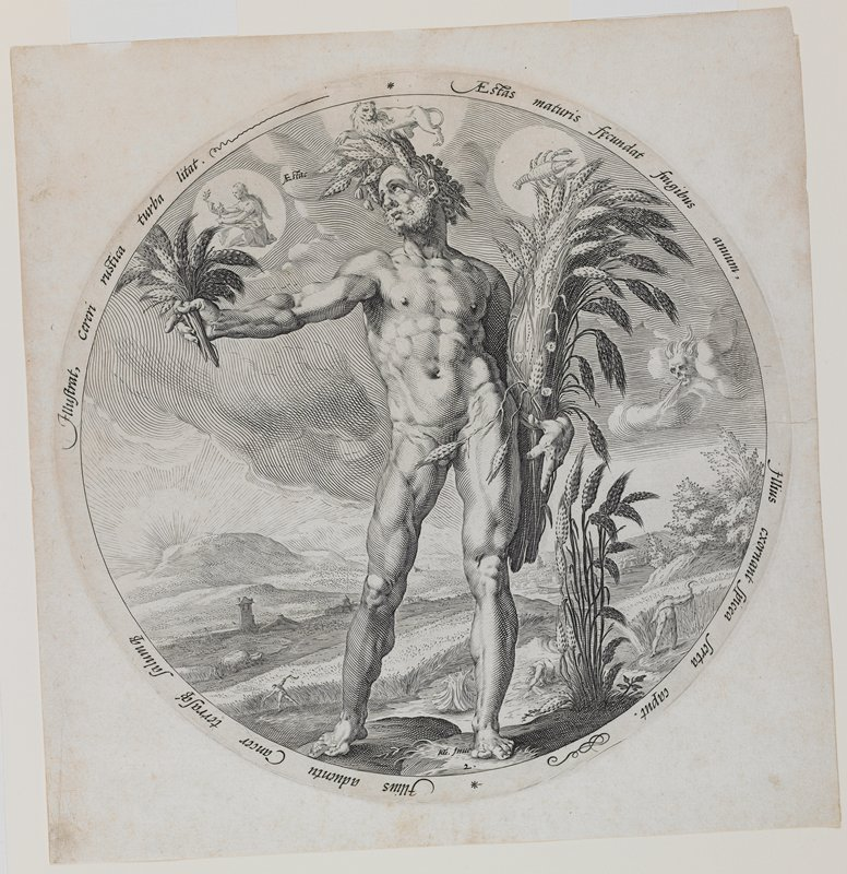 standing nude male figure wearing a crown of wheat and holding a sheaf of wheat in his PL arm and a small bouquet of wheat in his PR hand; field workers harvesting in background at bottom; symbols for Leo, Cancer and Virgo in sky; skull with hair blowing wind in sky at right; round image