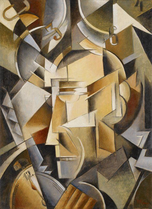 cubist style; face of man with clock in LLC and partial clock faces in ULC and URC; zigzag shapes in lower corners; tans, greys; received unframed
