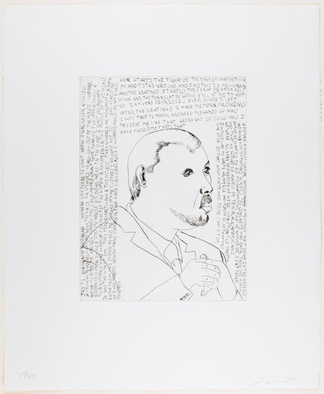 line drawing-style portrait of a man with a large round face, moustache, small scruffy beard, smooth hair and long eyelashes; man wears jacket, shirt and tie; text on top, L and R edges