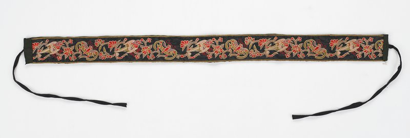 black backing and ties; band of repeating birds and butterflies on flowering branches in tan, khaki, light brown, pale pink, green, purple and red-orange on black